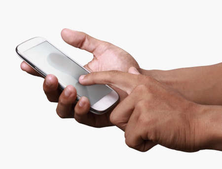 advanced computing: Johor, Malaysia - Jun 24, 2014: Hand holding smartphone. Smartphone is a mobile phone with more advanced computing capability and connectivity than basic feature phones, Jun 24, 2014 in Johor, Malaysia.