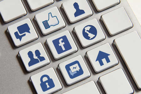 Johor, Malaysia - Jun 14, 2014: Facebook icons on keyboard button, Facebook is a popular free social networking website in the world, Jun 14, 2014 in Johor, Malaysia.