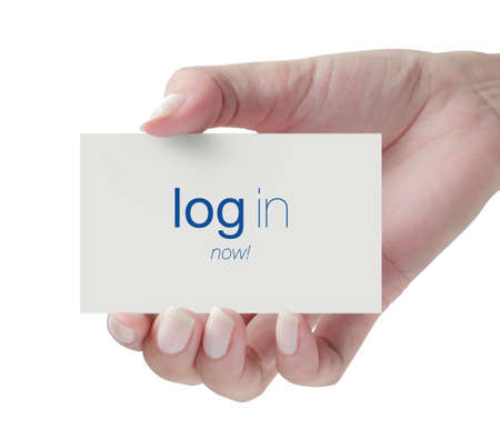 Hand holding log in card