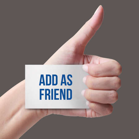add as friend: Card with add as friend text in hand