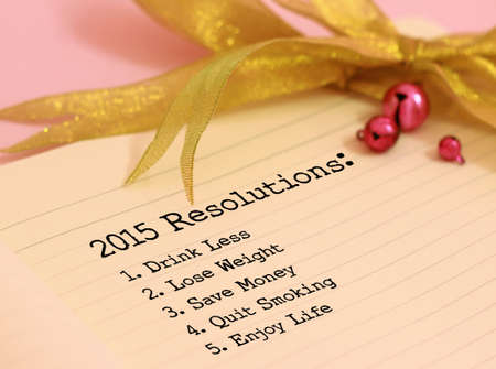 2015 Resolutions and gold color decoration Banque d'images