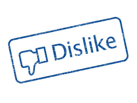Blue color dislike rubber stamp Stock Photo