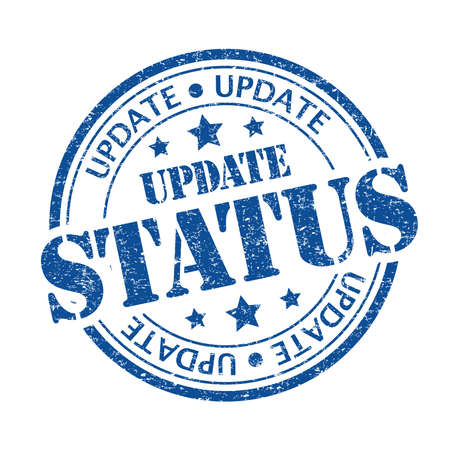 Blue color update status rubber stamp