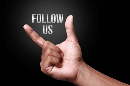 follow us: Hand showing follow us icon