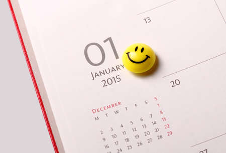 january 1: Smile icon on the diary at 1st January 2015