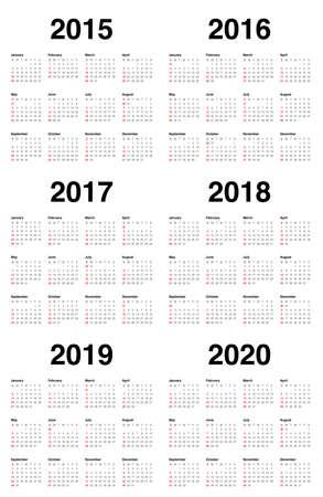 Simple calendar 2015 2016 2017 2018 2019 2020