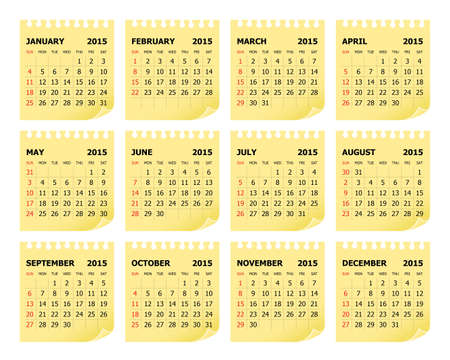 yearly: Simple calendar for 2015 year