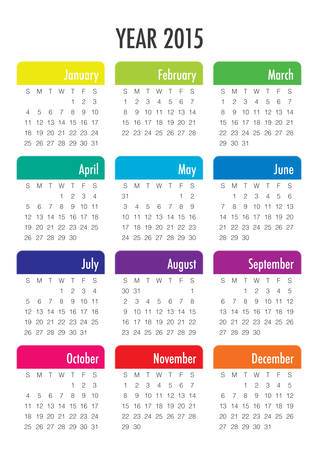 yearly: Calendario simple para los 2015 a�os
