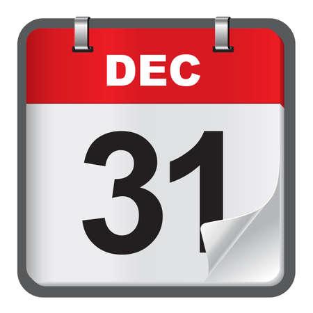 new year eve: New year eve calendar on white background Illustration