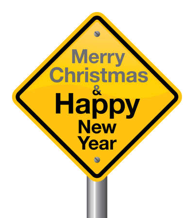 new direction: Merry christmas and happy new year road sign