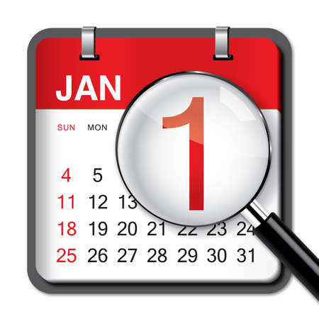 january 1: New Year Calendar on white background