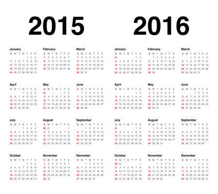 Simple calendar for 2015 and 2016