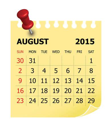 agosto: Calendario semplice per agosto 2015
