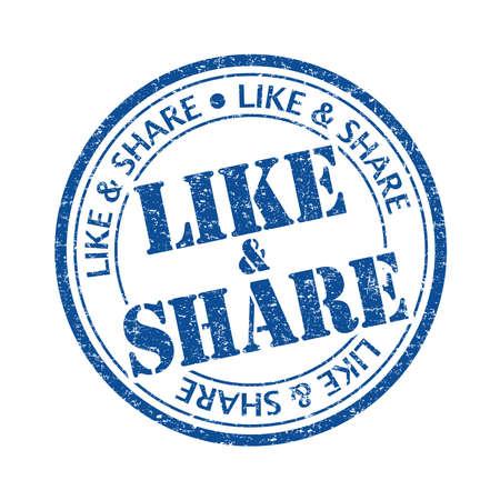 surfing the net: Blue color like & share rubber stamp Illustration