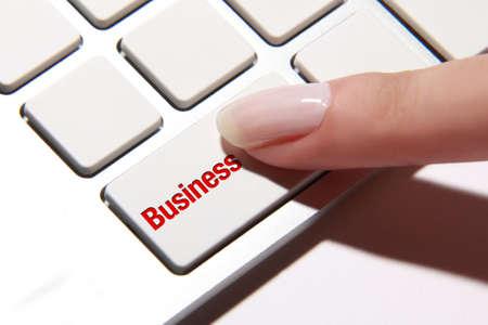 hand press: Hand press on business button
