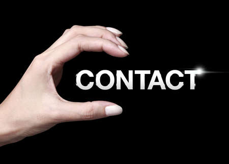 client service: Hand showing a contact icon