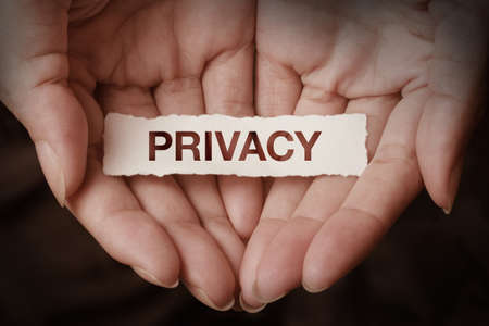 online privacy: Privacy text on hand design concept