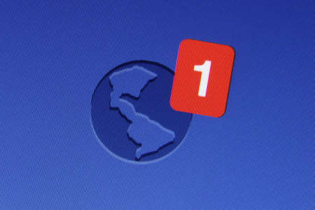 Johor, Malaysia - Jun 17, 2014: Facebook notification icon on computer monitor, Facebook is a popular free social networking website in the world, Jun 17, 2014 in Johor, Malaysia.