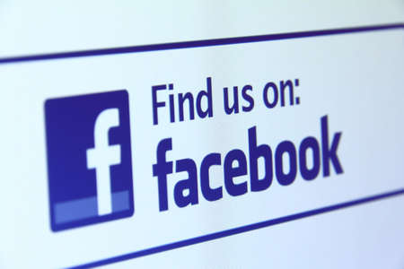 find us: Johor, Malaysia - Jun 17, 2014: Find us on Facebook icon on computer screen, Facebook is a popular free social networking website in the world, Jun 17, 2014 in Johor, Malaysia.