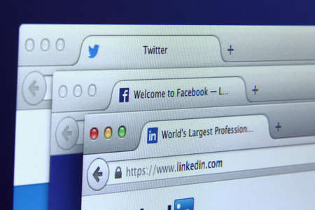 Johor, Malaysia - May 27, 2014: Facebook, Twitter and Linkedin, they are 3 most popular social networking sites of the world, May 27, 2014 in Johor, Malaysia.