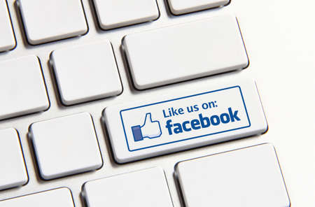 Johor, Malaysia - Jun 14, 2014: Like us on Facebook icon on keyboard button, Facebook is a popular free social networking website in the world, Jun 14, 2014 in Johor, Malaysia.