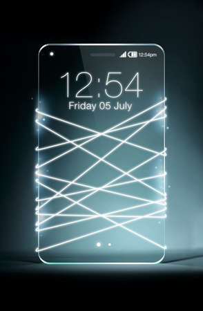 fiberoptic: Optical fiber emitting white light with transparent smartphone isolated on dark blue background.