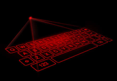 Digital virtual keyboard on black background.