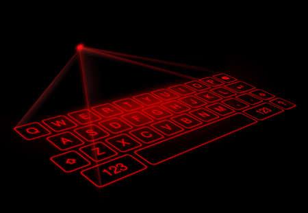 Digital virtual keyboard on black background.