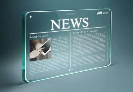 Tablette transparente avec des nouvelles à chaud sur l'écran. lecture de Tablet & smartphone des journaux continue de croître rapidement à l'avenir. Banque d'images - 40181237