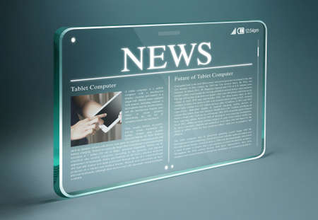 Transparent tablet with hot news on screen. Tablet & smartphone reading of newspapers continues to grow rapidly in the future.