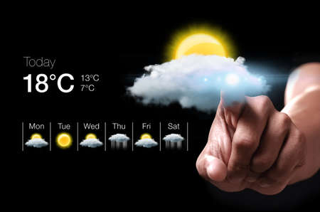 Hand pressing virtual weather icon. Weather forecasting is the application of science and technology to predict the state of the atmosphere for a given location. Archivio Fotografico