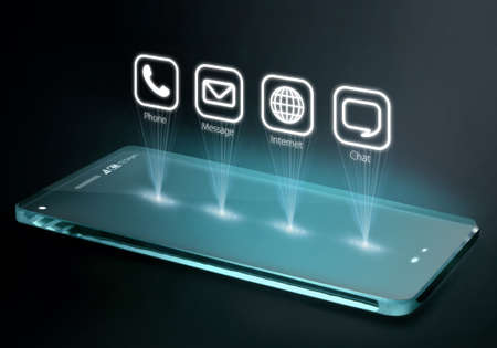 conveys: Transparent smartphone with apps on three dimensional screen. A 3D phone is a mobile phone that conveys depth perception to the viewer by employing stereoscopy or any other form of 3D depth techniques. Stock Photo