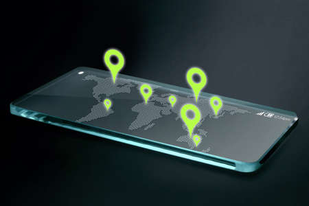 Map and navigation icons on transparent smartphone screen . GPS or Global Positioning System is a network of orbiting satellites that send precise details of their position in space back to earth.