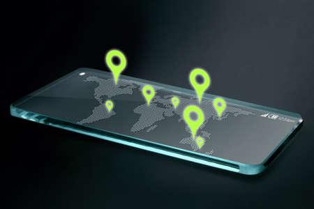 Navigation avec carte et d'icônes sur l'écran du smartphone transparente. GPS ou Global Positioning System est un réseau de satellites en orbite qui envoient des détails précis de leur position dans l'espace vers la terre. Banque d'images - 40865683