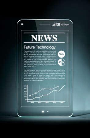 periodicos: Teléfono inteligente transparente con noticias calientes en la pantalla. Tabletas y teléfonos inteligentes lectura de periódicos continúa creciendo rápidamente en el futuro. Foto de archivo