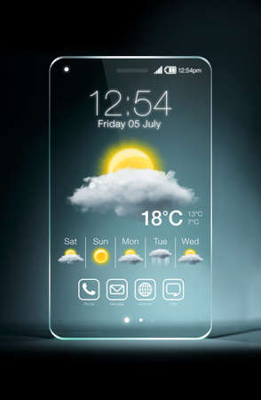 Transparent smartphone with weather icon on blue background. Weather forecasting is the application of science and technology to predict the state of the atmosphere for a given location.