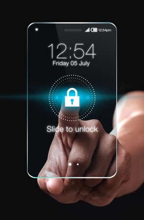 青色の背景にあるロック アイコンの透明なスマート フォン。あなたの携帯電話のロックを解除するスライド アップ。簡単なロックは、ロックまた