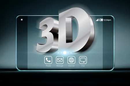 conveys: Three dimensional wording on transparent smartphone . A 3D phone is a mobile phone that conveys depth perception to the viewer by employing stereoscopy or any other form of 3D depth techniques.