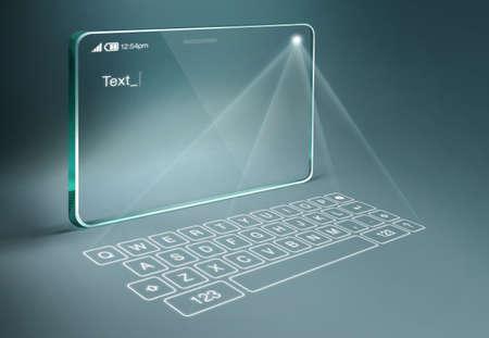 Tableta transparente con teclado virtual digital. Un teclado de proyección es una forma de dispositivo de entrada de ordenador mediante el cual la imagen de un teclado virtual se proyecta sobre una superficie.