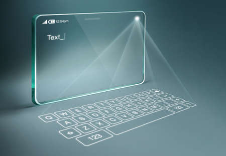 Transparent tablet with digital virtual keyboard. A projection keyboard is a form of computer input device whereby the image of a virtual keyboard is projected onto a surface. Фото со стока - 40886632