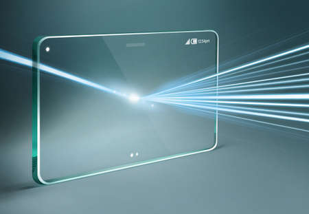 Transparent tablet with light effect on dark blue background.
