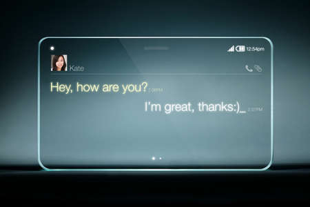 realtime: Sms chat on transparent tablet with blue background. Instant messaging is a type of online chat which offers real-time text transmission over the Internet. Stock Photo