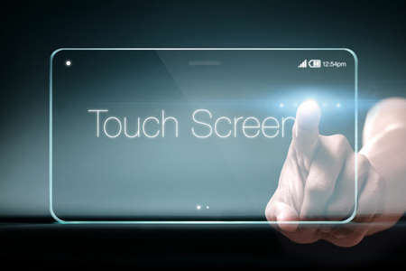 transparent system: Touch screen wording on transparent smartphone. A touchscreen is an input device normally layered on the top of an electronic visual display of a information processing system.