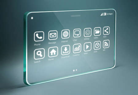 promising: Transparent tablet with apps icons on bue background. The most promising technologies in the mobile market is flexible and transparent displays.