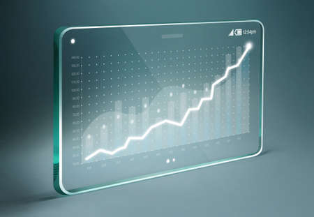 business chart: Transparent tablet with business chart on screen, representing business growth. Chart is white color and the background is blue color. Stock Photo