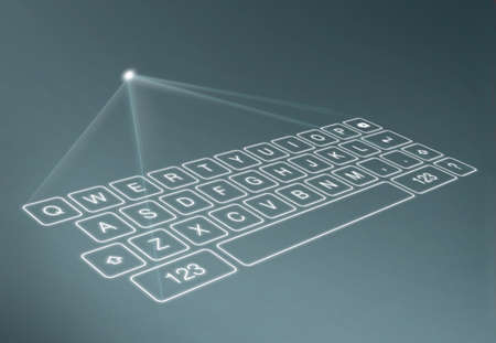 Digital virtual keyboard on blue background. A projection keyboard is a form of computer input device whereby the image of a virtual keyboard is projected onto a surface.