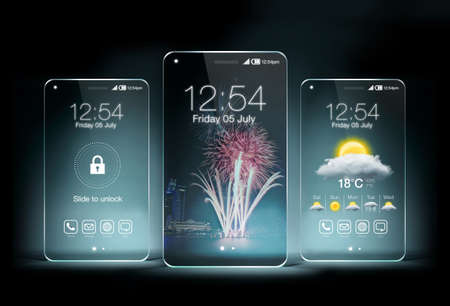 displays: Three transparent smartphone on blue color background. The most promising technologies in the mobile market is flexible and transparent displays.