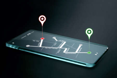 network map: Map and navigation icons on transparent smartphone screen. GPS or Global Positioning System is a network of orbiting satellites that send precise details of their position in space back to earth. Stock Photo