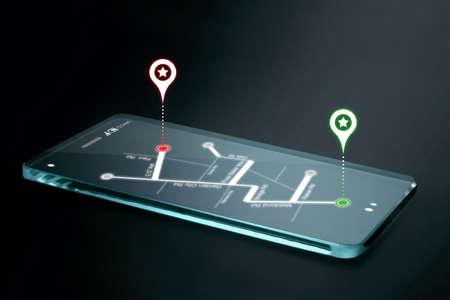 navegacion: Mapa de navegación y los iconos en la pantalla del smartphone transparente. GPS o Sistema de Posicionamiento Global es una red de satélites en órbita que envían detalles precisos de su posición en el espacio a la Tierra.