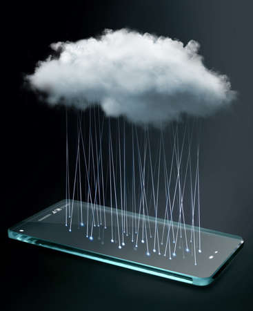 computing: Transparent smartphone with cloud computing technology.  Cloud computing is a general term for the delivery of hosted services over the Internet. Stock Photo
